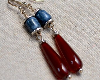 SALE. Red Agate Earrings.  Smooth Red Agate Teardrops Earrings. SUNSET. Red Agate - Blue Lapis Lazuli Gemstone Sterling Silver Earrings.