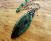 Ruby Zoisite Necklace, Green Gemstone Pendant, Wire Wrapped, Oxidized Silver, Kande Kristina Henning - Hudson