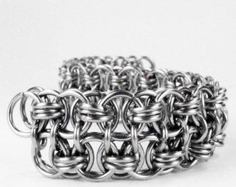 Chainmaille Bracelet - Helms Weave Pattern - Double Wide Cuff