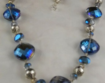 Sterling Silver Crystal Blue Necklace, Earrings and Free Gift Tin