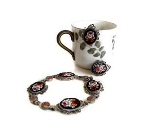 50s Bracelet Earring Set Venetian Glass Micro Mosaic Floral Motif Gift for Her