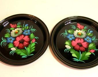 Vintage Round Floral Tip Trays