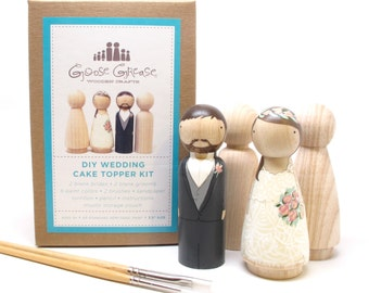 Peg Doll Wedding Cake Toppers Bride/Groom  Wedding Decor  Kit  DIY Cake Toppers with Extra Couple - Wooden Dolls