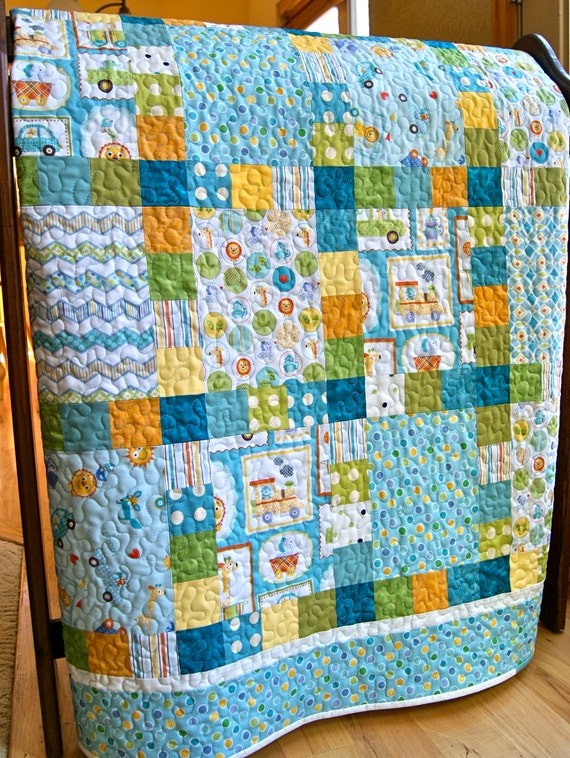 Quilt baby boy patchwork handmade happi fabrics toddler blue for Little blue truck fabric