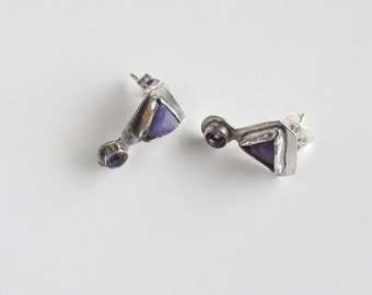 Purple Studs: Charoite and Amethyst on Sterling Silver, Good Match for Charoite Brooch