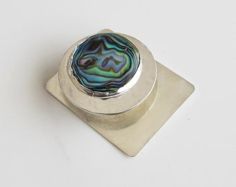 Abalone Pendant: Blue Green Paua Shell on Sterling Silver