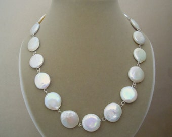 NEW MARKDOWN: Shaia -- One of a Kind Large Coin Pearl Connector Necklace