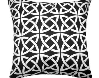 Modern Black Throw Pillow - Linked In Black Square or Lumbar Outdoor Decorative Pillow Free Shipping