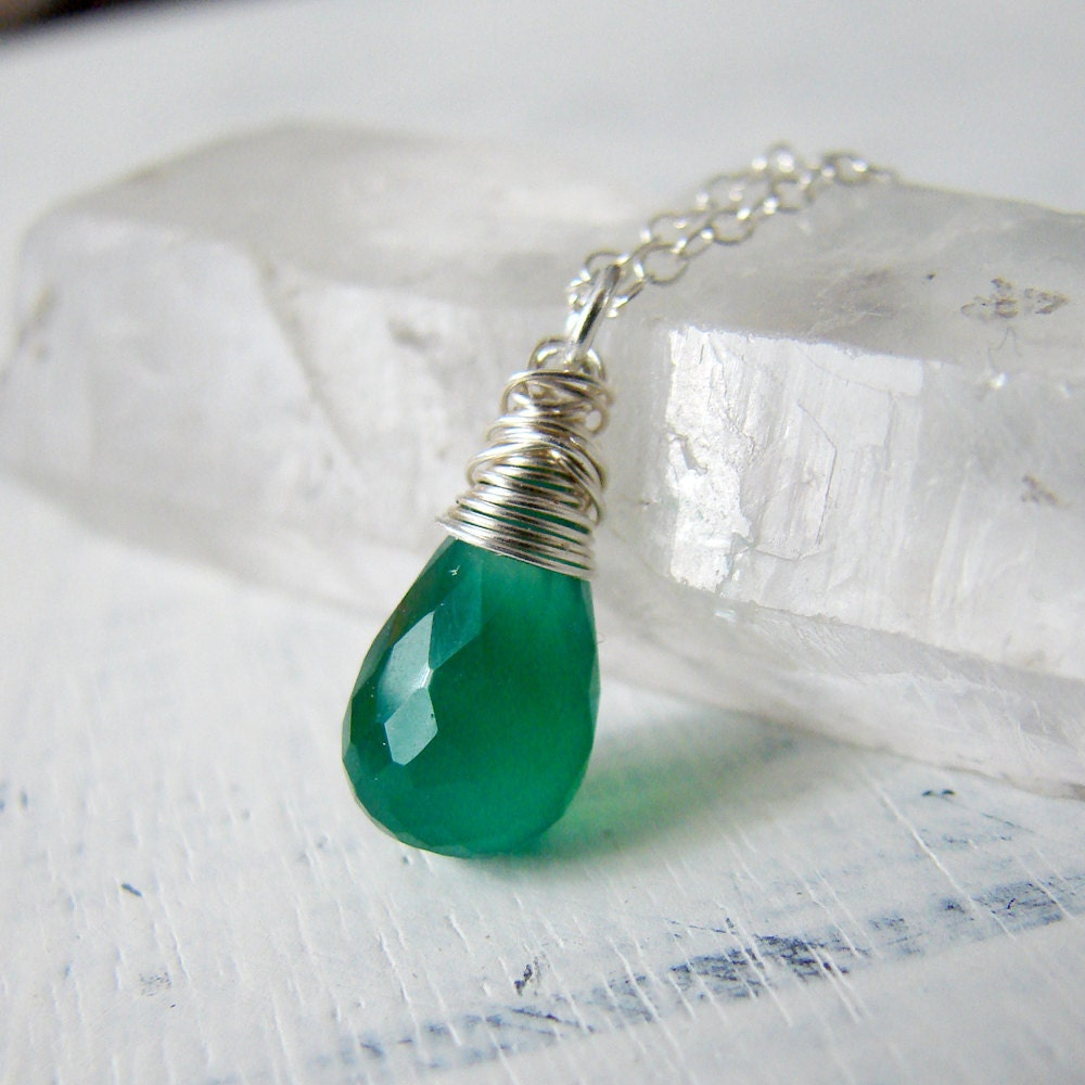 emerald green quartz and sterling silver gemstone by