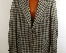 Polyester Jacket Coat Vintage 1970s Plaid Green Men's Blazer Seventies Suit