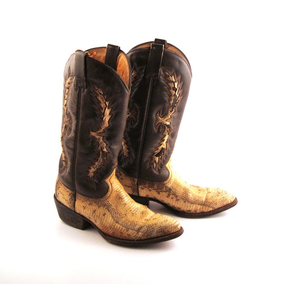 snakeskin cowboy boots vintage 1980s s brown leather