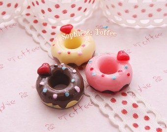 Hearts Donut Cabochons Fake Sweets Deco Decoden Kawaii Resin Cabochon Set of 6pcs