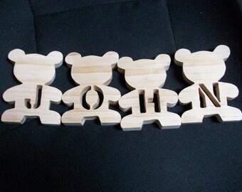 Wooden Teddy Bear name pieces