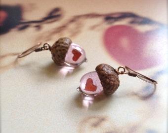 Glass Acorn Earrings: Peter Pan's Kiss in Valentine Pink by Bullseyebeads