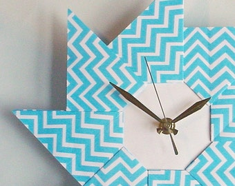 Unique Chevron Clock - Blue Origami