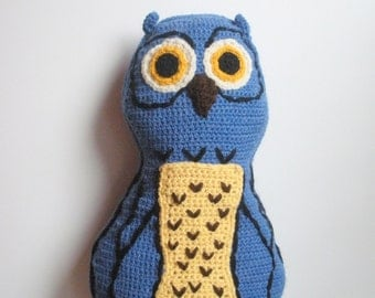 Large Crochet Owl Throw Pillow in blue, ready to ship.