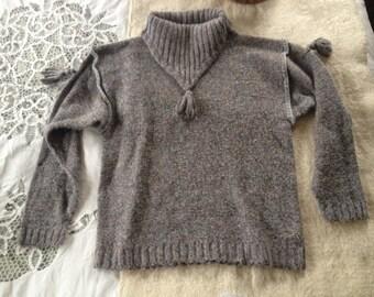 Lavender Turtleneck Sweater with Tassels