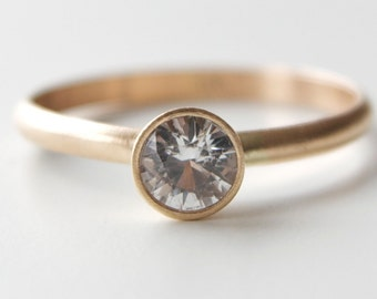 White Sapphire Engagement Ring in 14k Gold - Solitaire Ring - Tapered Bezel - Modern Sapphire Ring - Unique Brushed Finish - Gold Wedding