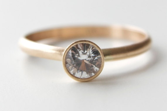 White Sapphire Engagement Ring in 14k Gold - Solitaire Ring - Tapered Bezel  - Modern Sapphire