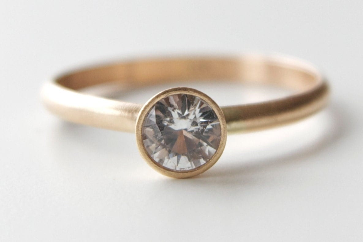White Sapphire Engagement Ring In 14k Gold Solitaire Ring