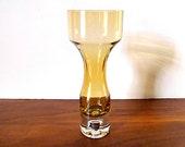 Vintage Aseda Gold, Amber Art Glass Vase, Bo Borgstrom, Svensk
