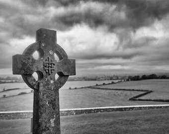 The Cross, Black and White Print, Ireland Photography, Religious Wall Art, Cross Statue Print, Christian Wall Art, Irish Wall Decor, Neutral