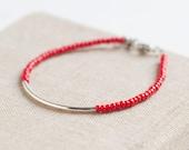 Friendship Bracelet - red - Silver Bar Bracelet with red miyuki beads - minimalist bracelet  - cool jewelry