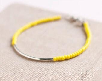 Friendship Bracelet - Yellow - Silver Bar Bracelet with yellow seed beads - dainty jewelry - bohemian jewelry - cool jewelry - color block
