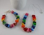 Necklace and Bracelet Jewelry Set - Colored Pencil - Beaded Necklace - Teacher - Teacher Gift - Pencil - Multi Color Rainbow - Adjustable