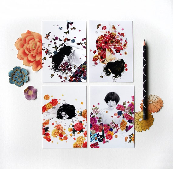 Flower Set 1 - Collection of 4 Art Postcards - Colorful floral Girl Drawings