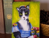Regency Cat Greeting Card, Grey and White Cat in Regency Dress, CLEARANCE Card
