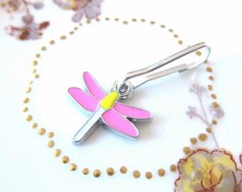 Cute Enamel Inlaid Dragonfly Zipper Pull Purse Charm