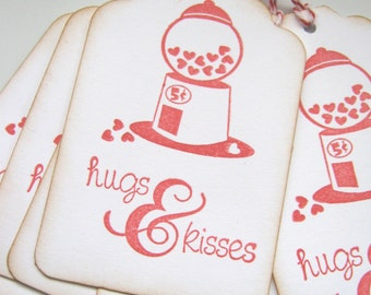 Hugs and Kisses Valentine Gift Tags, Gumball Valentine Gift Tags