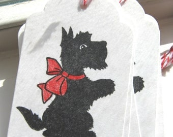 Black scottie gift tags