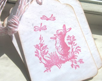 Bunny and Dragonflies Gift Tags, Spring Bunny Gift Tags, Easter Gift Tags