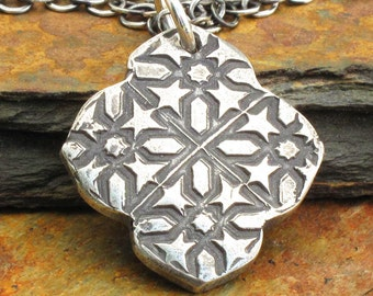 Fine Silver PMC Necklace - Bohemian Print