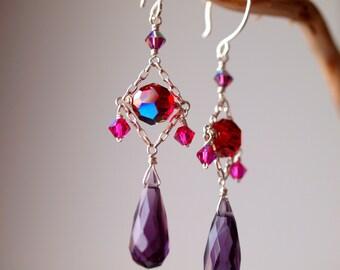 Dark Purple briolette earrings, chandelier earrings, sterling silver dangling earrings