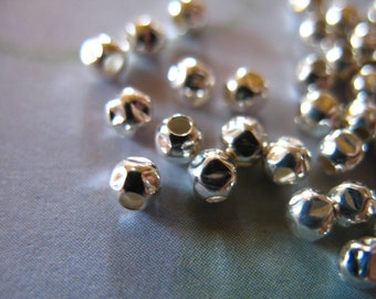Shop Sale.. 25 pcs, Sterling Silver Beads Spacer Beads Bulk, Hammered Faceted, 2.5 mm, organic artisan, wholesale findings vsb2h solo