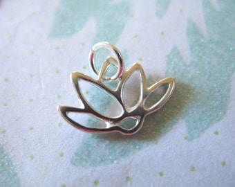 Clearance Sale,, 1 pc, LOTUS Pendant Charm, Sterling Silver Lotus Flower Outline, 12.5x14.5 mm, yoga layering minimal sf.lotus