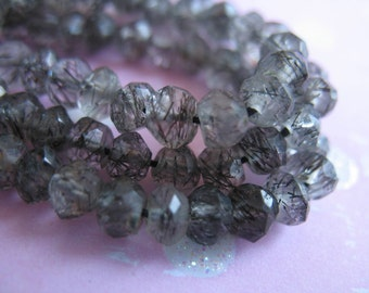 Shop Sale.. Tourmalinated Quartz Rondelles, Luxe AAA, 3.5-4 mm, 1/2 Strand, black tourmaline rutiles, high end exotic wholesale