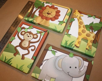 Set of 4 Mini Jungle Animal Safari 5x7 Stretched Canvases Baby Nursery CANVAS Bedroom Wall Art
