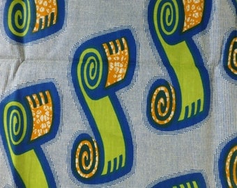 Blue with scrolls Tribal print Fabric-by-the-yard or Fat Quarter African wax print batik style fabric 100% cotton