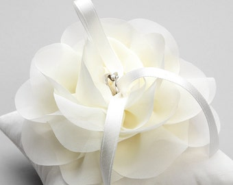 Ivory wedding ring pillow, chiffon flower bridal ring pillow, wedding decor - Aria