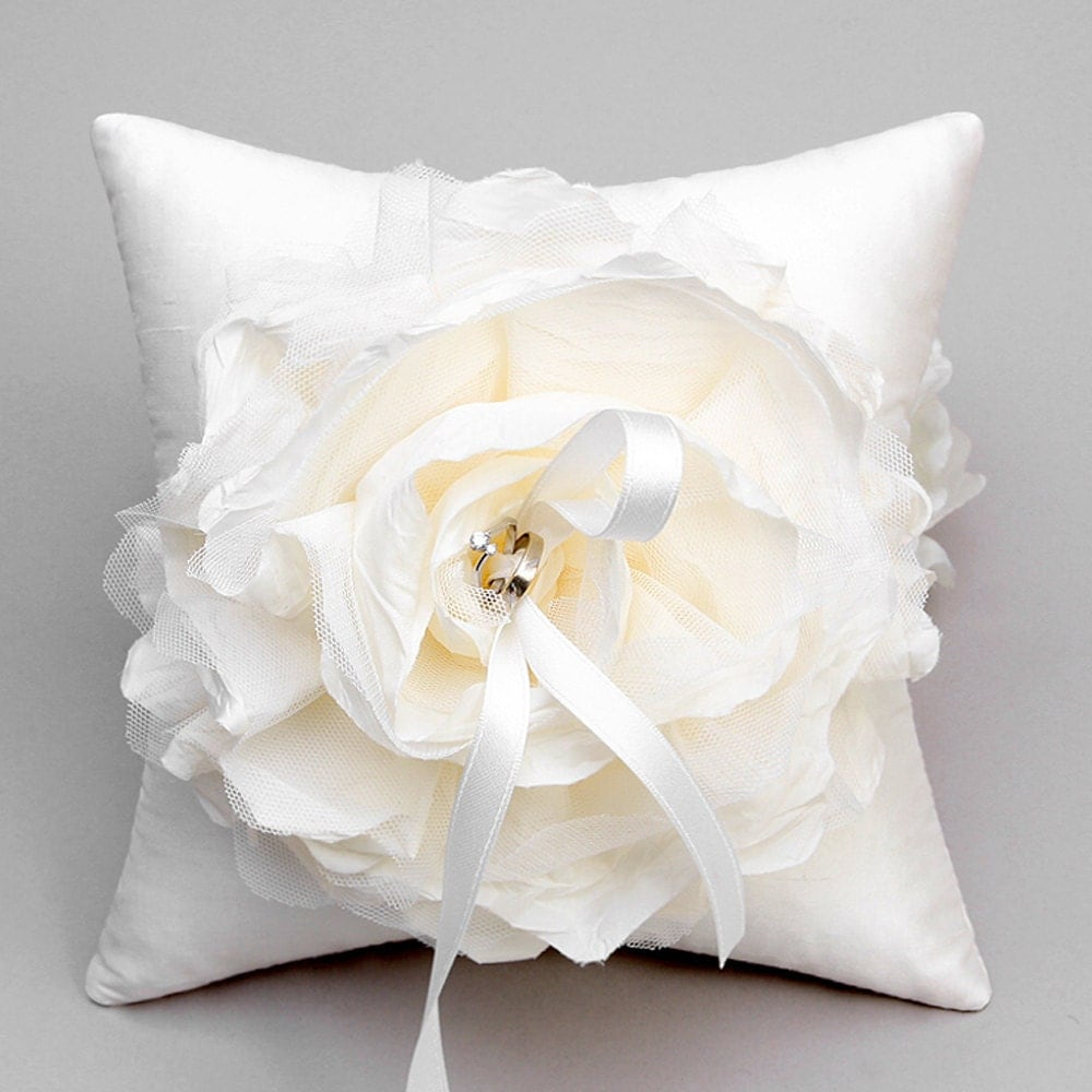 ivory flower ring pillow wedding ring bearer pillow bridal