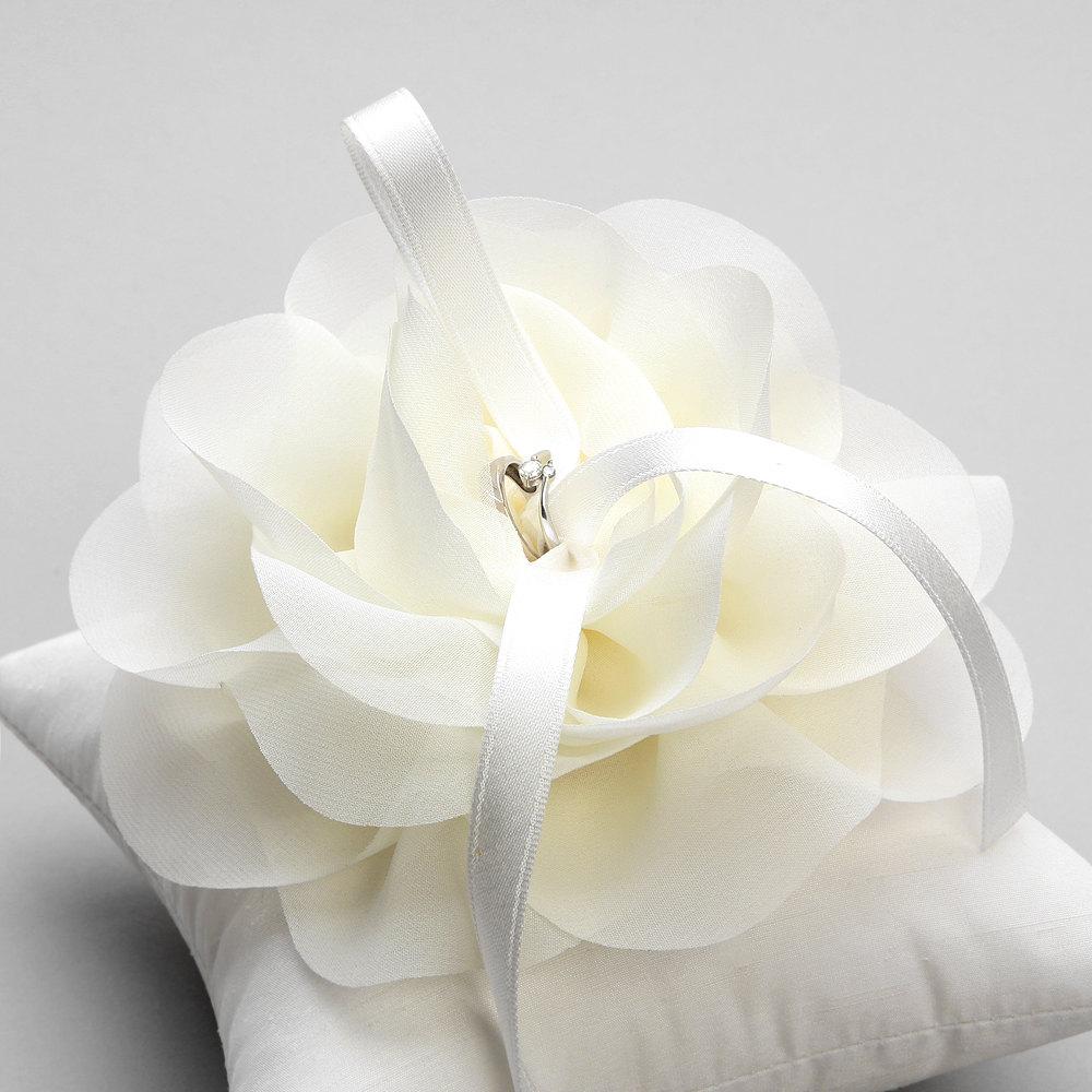 Ivory Wedding Ring Pillow Chiffon Flower Bridal Ring Pillow