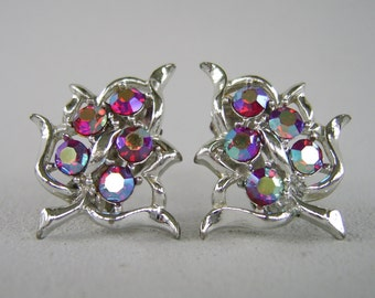Vintage Earrings, Sarah Coventry, Silver Earrings, Red Rhinestones, Clip On Earrings, Aurora Borealis, AB Rhinestones, Dazzling Aurora