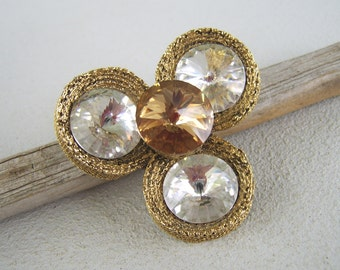 Vintage Large Rivoli Rhinestone Brooch Mid Century Antique Gold