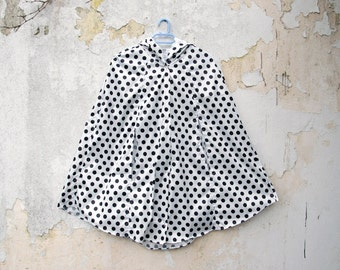 Polka Dot Rain Coat, Black and White, Mod Vintage Inspired Cape with Hood, Waterproof, Womens Rain Cape, Gift For Her