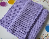 Crocheted Shell Stitch Baby Afghan in Lilac    READY TO SHIP    Size: 40 ins by 40 ins