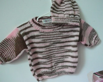 Pink & Brown Baby Girl Sweater and Hat Set          READY TO SHIP            Size Newborn - 3 mos